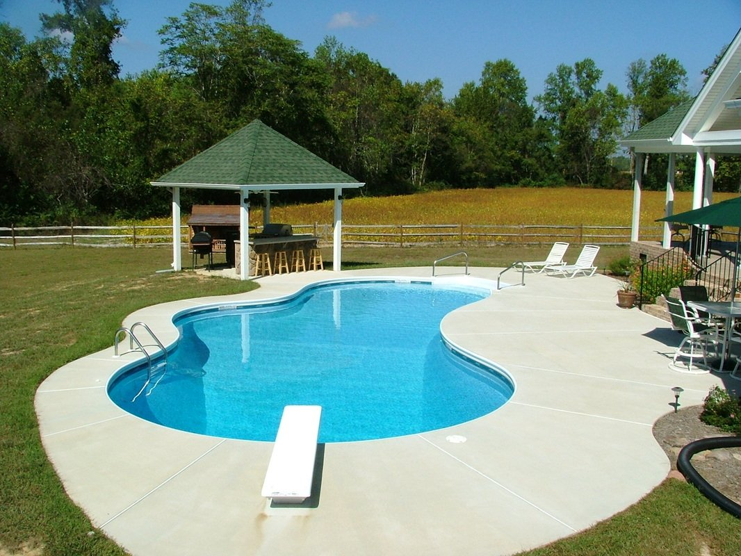 Inground swimming pools on ground swimming pools pools for Above ground pool decks nj