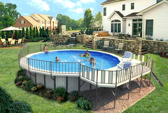 Semi inground pools nj deck joy studio design gallery for Above ground pool decks nj